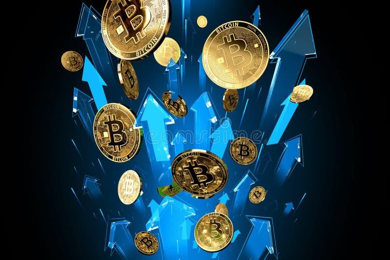 Blauwe pijlenschoten omhoog met hoge snelheid als de prijsstijgingen van Bitcoin BTC De Cryptocurrencyprijzen groeien, zeer riska vector illustratie