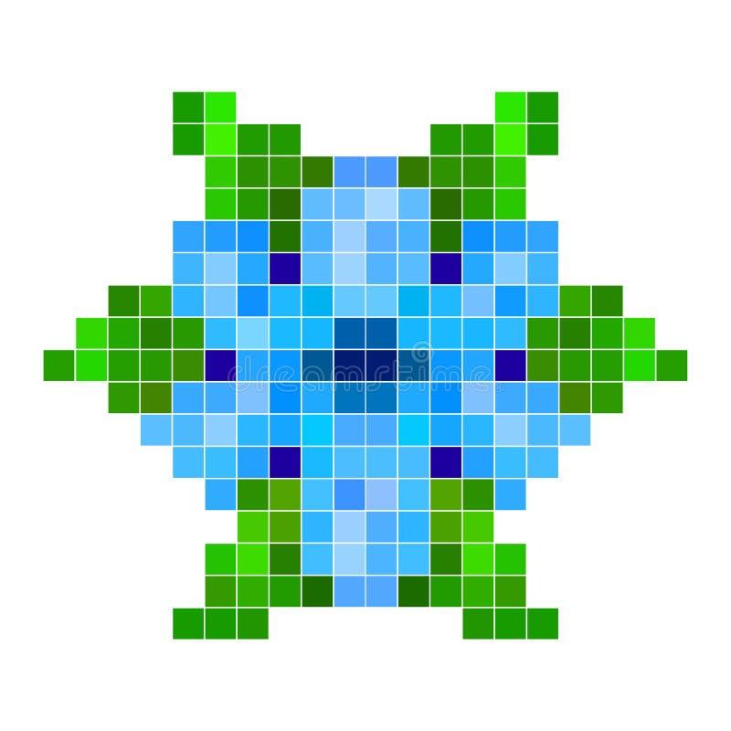 Blauwe pixelbloem royalty-vrije illustratie