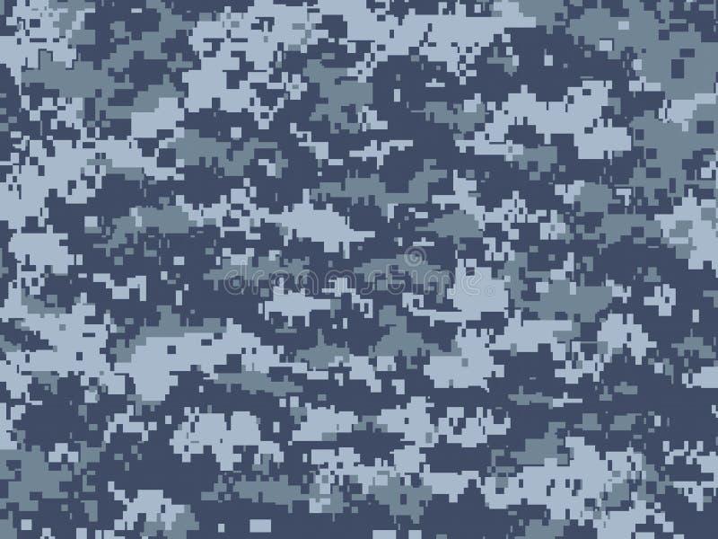 Blauwe pixelcamouflage stock illustratie