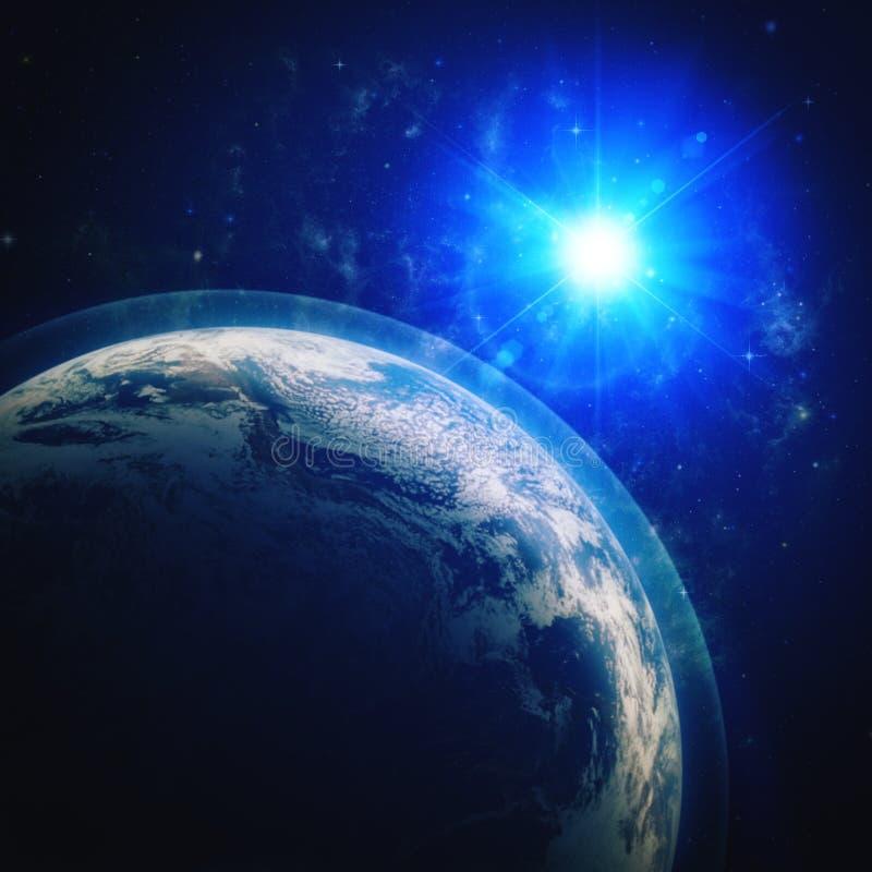Blauwe planeet in de diepe ruimte royalty-vrije illustratie