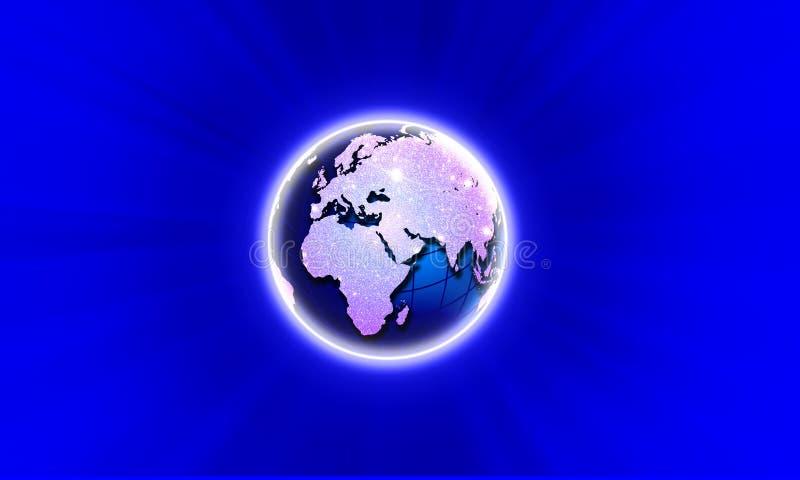 Blauwe Planeet De technologie van het wereldnetwerk Technologiemededeling royalty-vrije illustratie