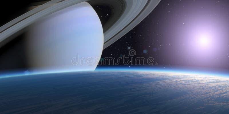Blauwe planeet en gasreus. royalty-vrije illustratie