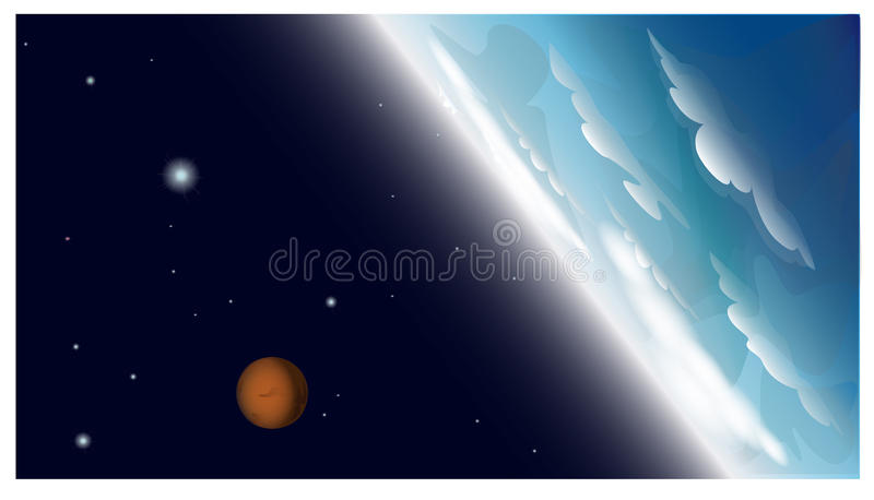 Blauwe planeet en oranje planeet met sterren in Ruimte royalty-vrije illustratie