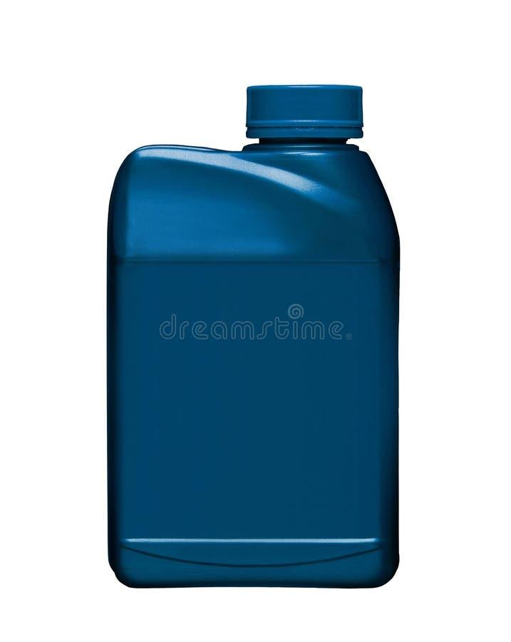 Blauwe plastic die gallon op wit wordt geïsoleerd stock foto's