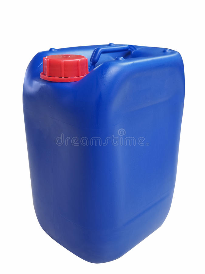 Blauwe plastic gallonkruik stock fotografie