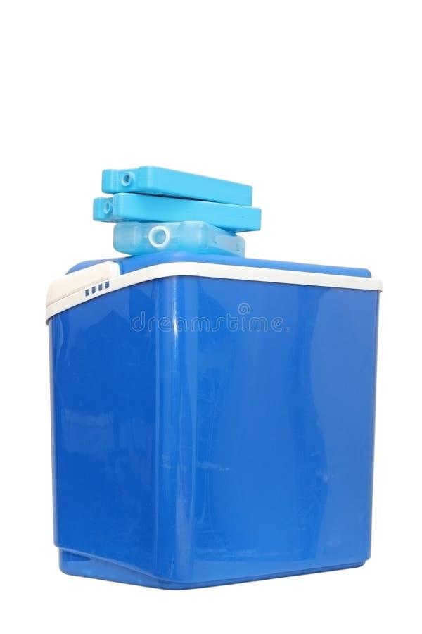 Blauwe plastic koeldoos royalty-vrije stock foto's