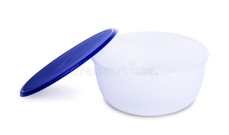 Blauwe plastic kom stock afbeelding