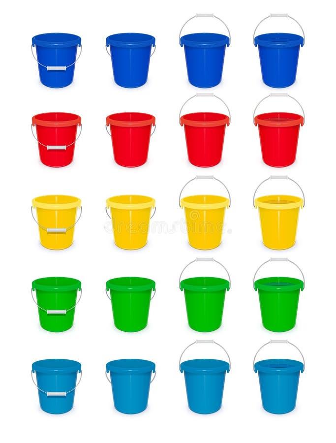 Blauwe plastic lege emmer met handvat voor het schoonmaken en huishouden royalty-vrije illustratie