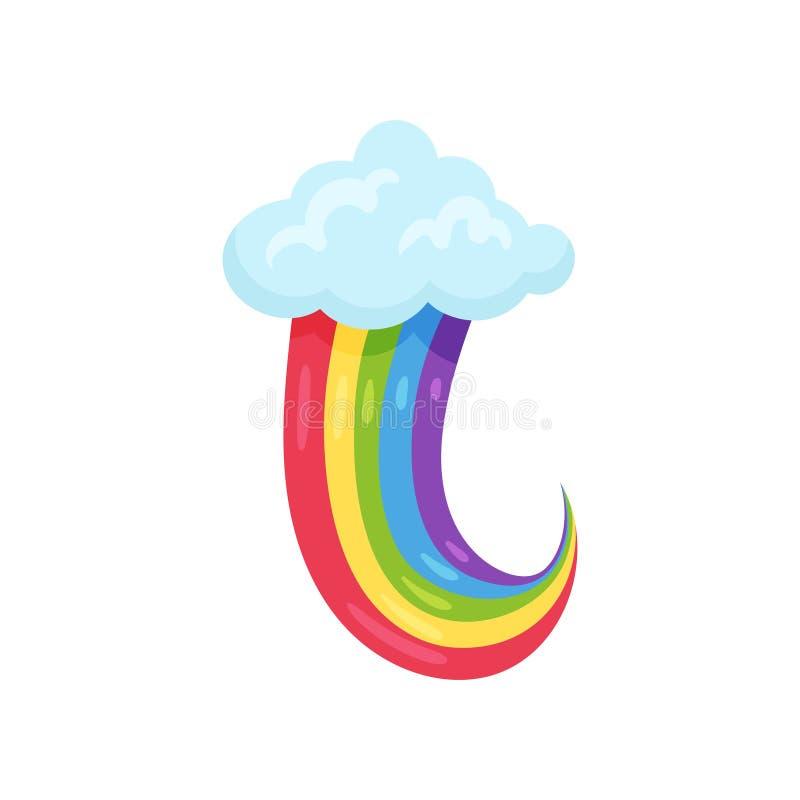 Blauwe pluizige wolk met multicolored regenboog Vlak vectorelement voor kinderenboek of mobiel spel Beeldverhaalpictogram stock illustratie