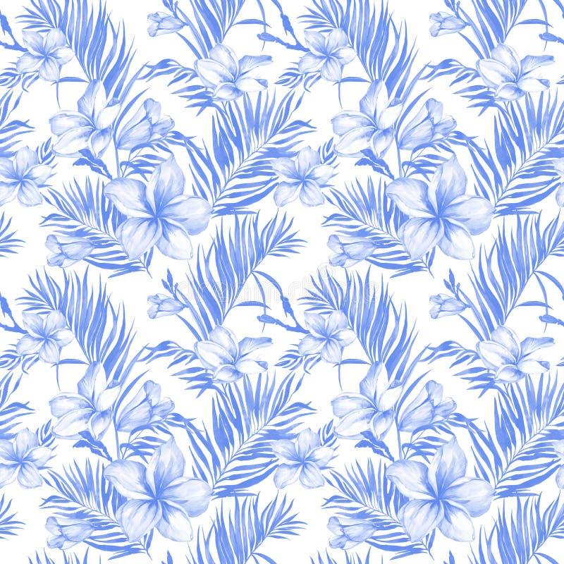 Blauwe plumeriabloemen en exotische palmbladen in naadloos tropisch patroon Witte achtergrond Het Schilderen van de waterverf royalty-vrije illustratie