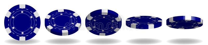 Blauwe Pook Chips Vector 3D Realistische Reeks Flip Different Angles royalty-vrije illustratie