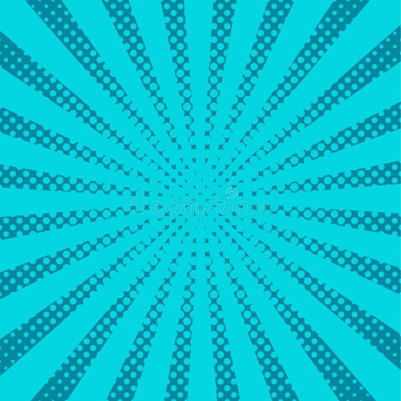 Blauwe pop-artstralen, vectorachtergrond royalty-vrije illustratie