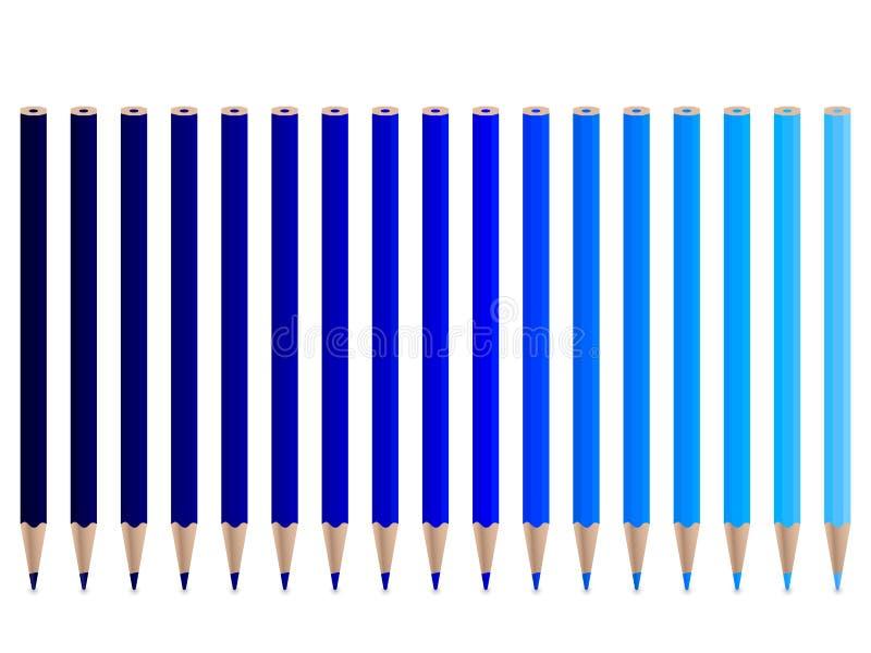 Blauwe potloden royalty-vrije illustratie