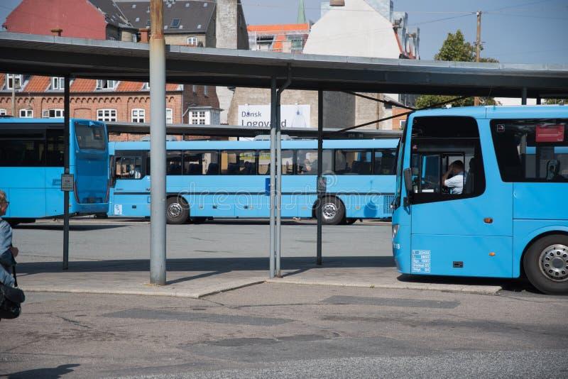Blauwe pubblic bus bij het busstation in Aarhus royalty-vrije stock foto's