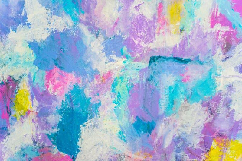 Blauwe Purpere abstracte hand geschilderde canvasachtergrond, textuur Kleurrijke geweven achtergrond stock foto's