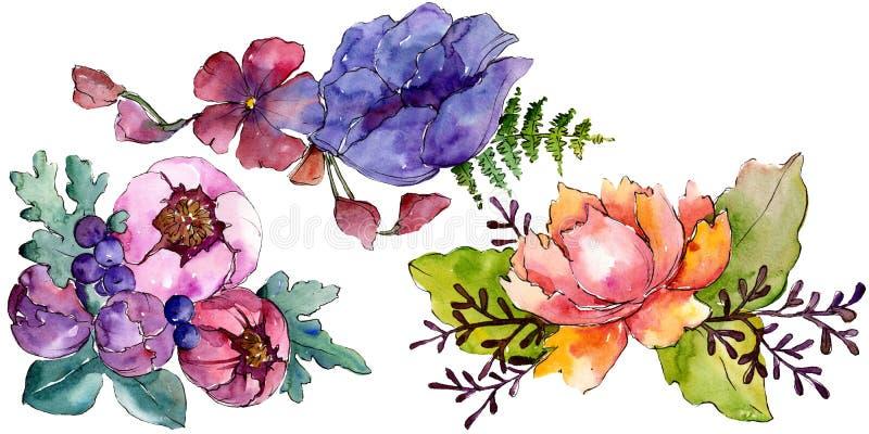 Blauwe purpere boeket bloemen botanische bloemen Van de achtergrond waterverf reeks Het ge?soleerde element van de boekettenillus stock foto
