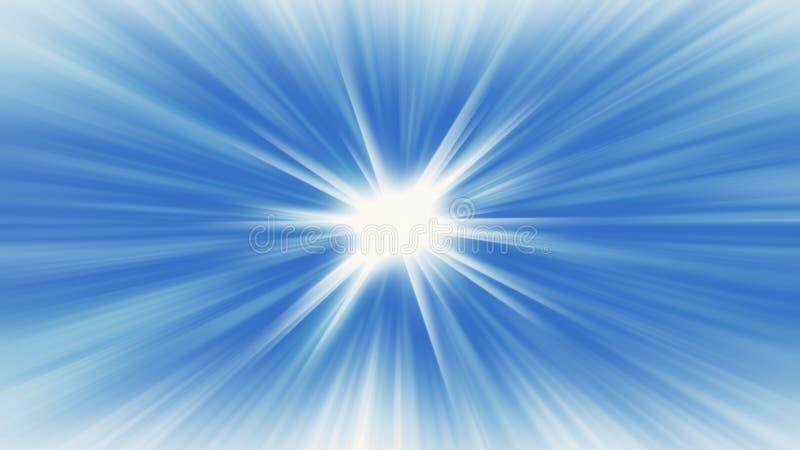 Blauwe radiale stralende bannerachtergrond die starburst gloeien vector illustratie
