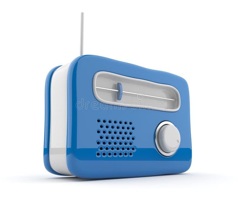Blauwe radio 3D. Retro stijl. Op witte achtergrond vector illustratie