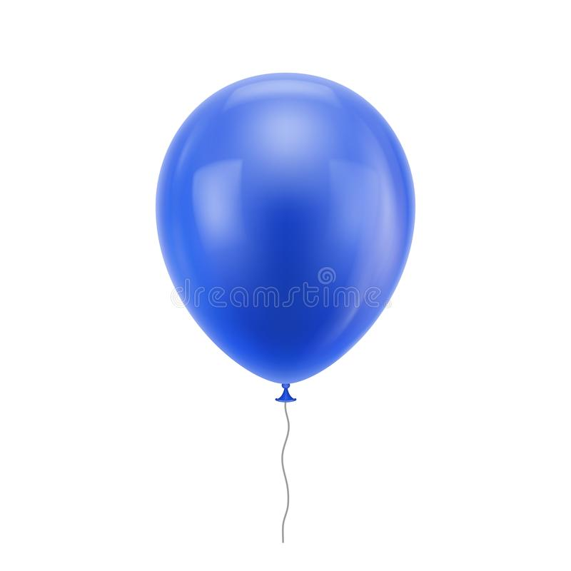 Blauwe realistische ballon stock illustratie