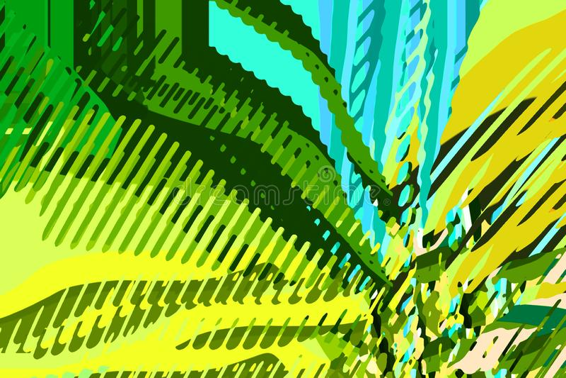 Blauwe rechthoeken 2 Creatieve kleurrijke vormen en vormen Geometrisch patroon Groene, blauwe en gele heldere grafische textuur stock illustratie