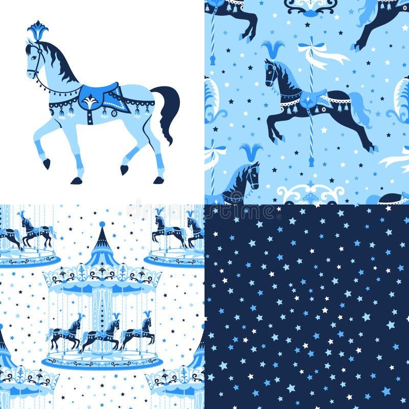 Blauwe reeks carrousel naadloze patronen stock illustratie