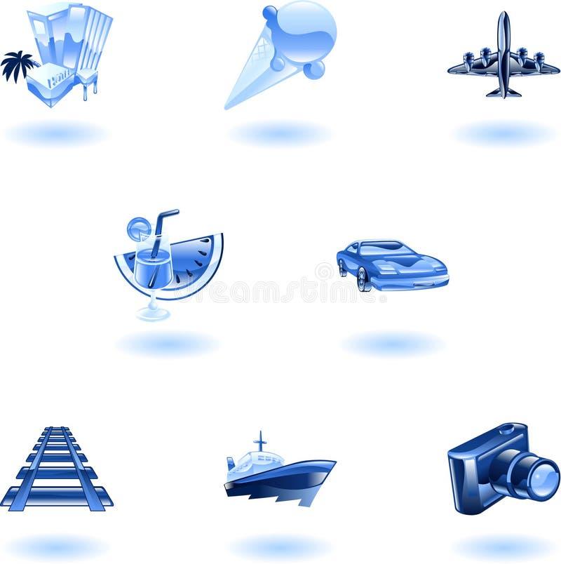 Blauwe reis en toerismepictogramreeks stock illustratie