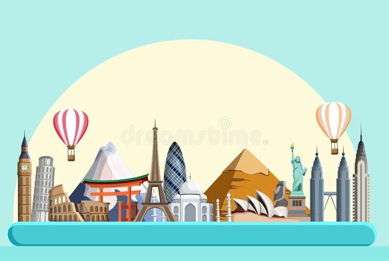 Blauwe reizende achtergrond met gezichten wereldwijd stock illustratie