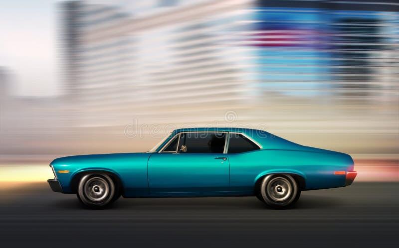 Blauwe retro auto die zich bij nacht bewegen stock fotografie