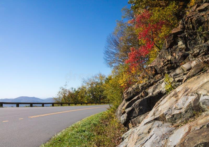 Blauwe Ridge Parkway-bergmening met gebladerte die zich aan de schouder vastklampen stock afbeelding