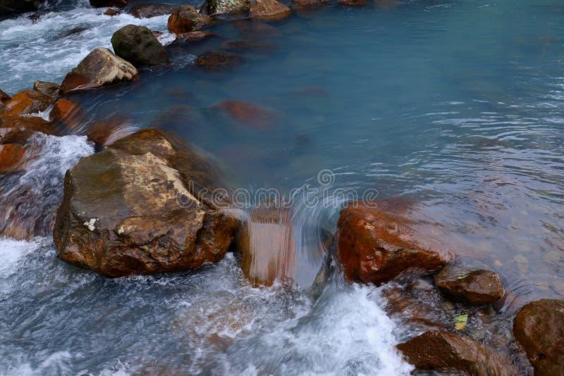 Blauwe rivier in midden van regenwoud royalty-vrije stock foto's