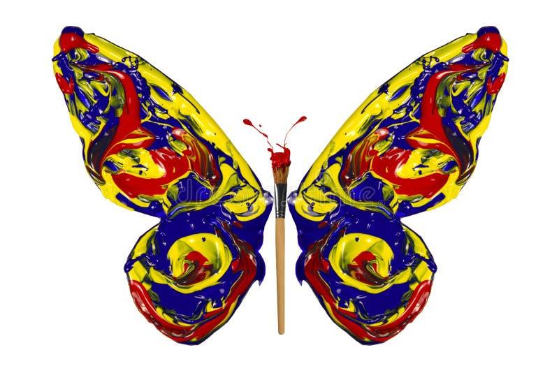 Blauwe rode gele verf gemaakt tot vlinder vector illustratie