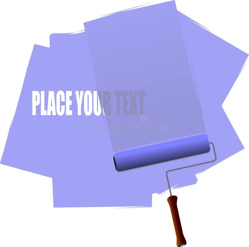 Blauwe rolborstel met verfslagen vector illustratie