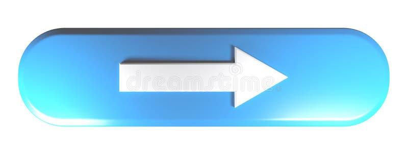 Blauwe rond gemaakte rechthoekdrukknop met een pijl aan het recht - 3D teruggevende illustratie royalty-vrije illustratie