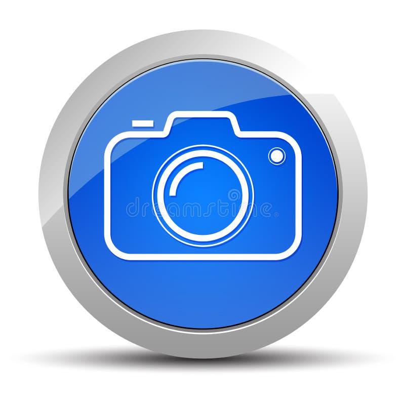 Blauwe ronde de knoopillustratie van het camerapictogram vector illustratie