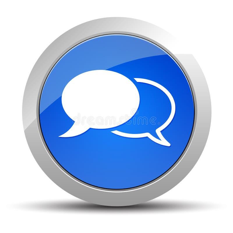 Blauwe ronde de knoopillustratie van het praatjepictogram stock illustratie
