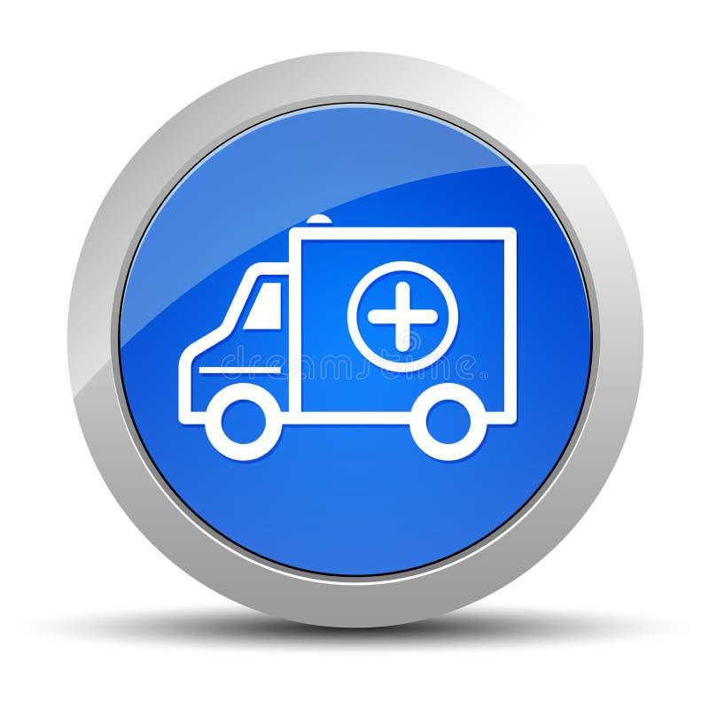 Blauwe ronde de knoopillustratie van het ziekenwagenpictogram royalty-vrije illustratie