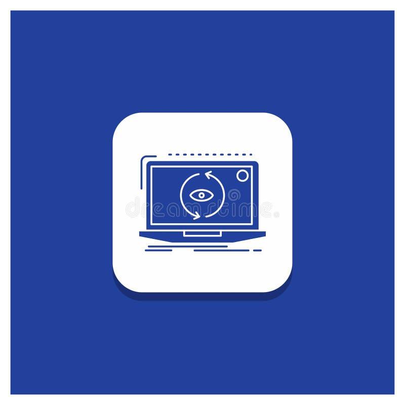 Blauwe Ronde Knoop voor App, nieuwe toepassing, software, het pictogram van updateglyph stock illustratie