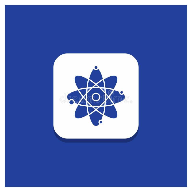 Blauwe Ronde Knoop voor atoom, kern, molecule, chemie, het pictogram van wetenschapsglyph vector illustratie