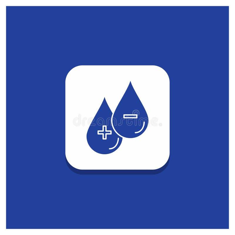 Blauwe Ronde Knoop voor bloed, daling, vloeistof, plus, Minus Glyph-pictogram stock illustratie