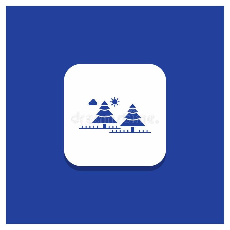 Blauwe Ronde Knoop voor bos, het kamperen, wildernis, boom, het pictogram van pijnbomenglyph royalty-vrije illustratie