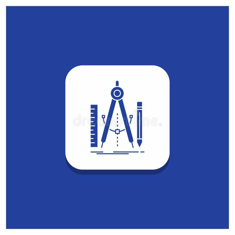 Blauwe Ronde Knoop voor Bouwstijl, ontwerp, meetkunde, wiskunde, het pictogram van hulpmiddelglyph vector illustratie