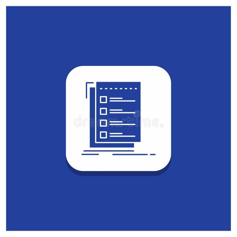 Blauwe Ronde Knoop voor Controle, controlelijst, lijst, taak, om Glyph-pictogram te doen royalty-vrije illustratie