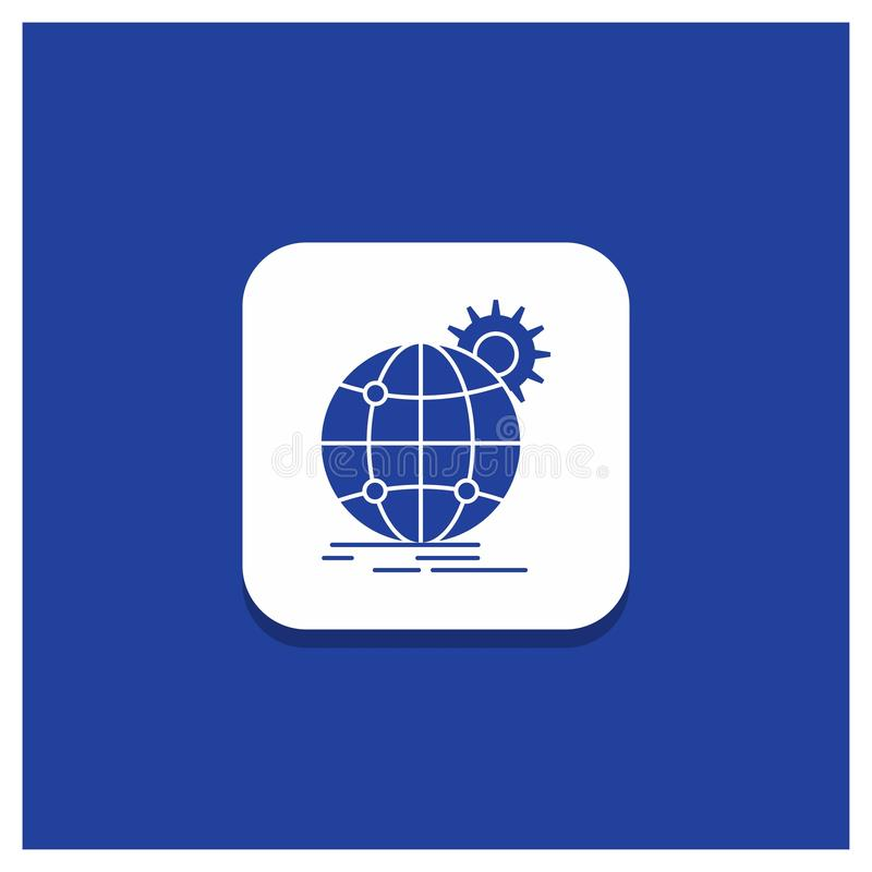 Blauwe Ronde Knoop voor internationaal, zaken, bol, wereldwijd, het pictogram van toestelglyph royalty-vrije illustratie