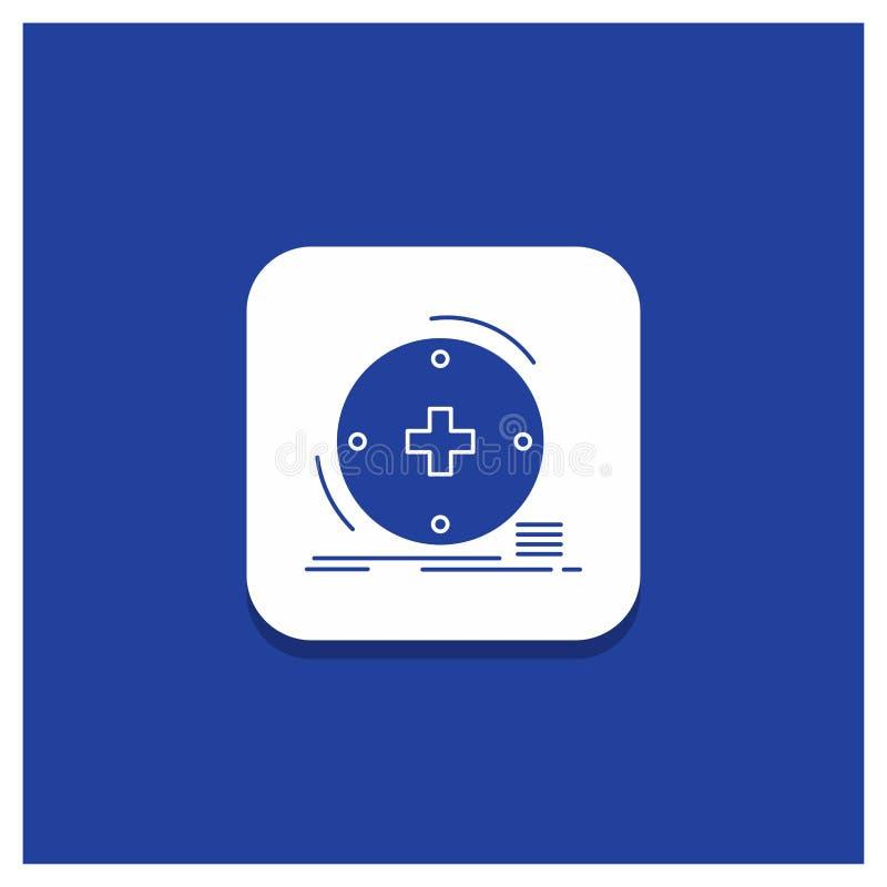 Blauwe Ronde Knoop voor Klinische, digitale, gezondheid, gezondheidszorg, het pictogram van telegeneeskundeglyph vector illustratie