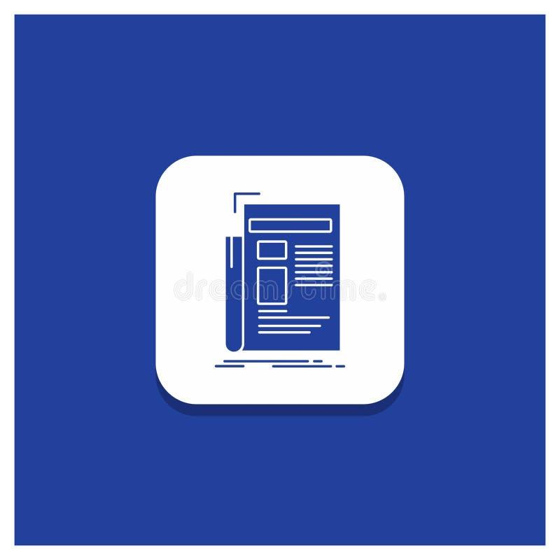 Blauwe Ronde Knoop voor Krant, media, nieuws, bulletin, het pictogram van krantenglyph stock illustratie