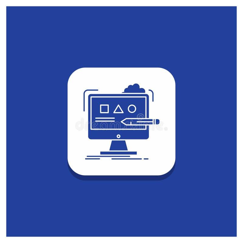 Blauwe Ronde Knoop voor Kunst, computer, ontwerp, digitaal, het pictogram van studioglyph vector illustratie