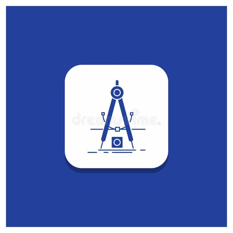 Blauwe Ronde Knoop voor Ontwerp, maatregel, product, verbetering, het pictogram van Ontwikkelingsglyph vector illustratie