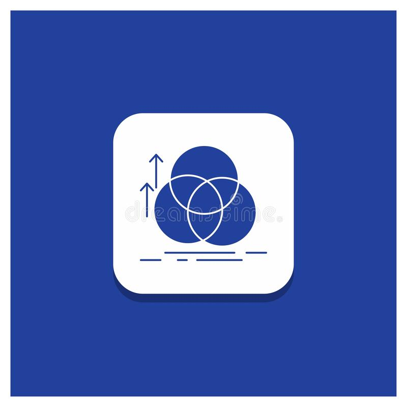 Blauwe Ronde Knoop voor saldo, cirkel, groepering, meting, het pictogram van meetkundeglyph vector illustratie
