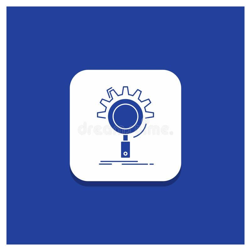 Blauwe Ronde Knoop voor seo, onderzoek, optimalisering, proces, het plaatsen Glyph pictogram stock illustratie