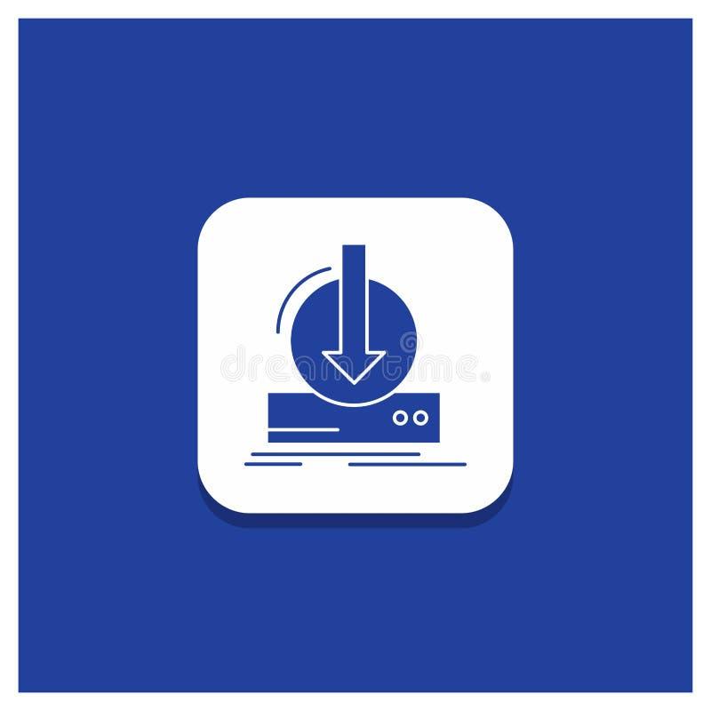Blauwe Ronde Knoop voor Toevoeging, inhoud, dlc, download, het pictogram van spelglyph vector illustratie
